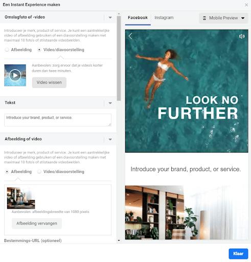 Facebook Instant Experience voorbeeld - LeadLogic